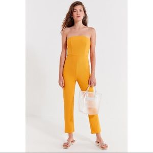 NWT UO Goldenrod Yellow Strapless Jumpsuit
